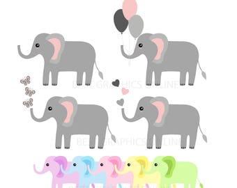 80% OFF SALE Commercial use Elephant clip art Elephant vector image illustration Baby elephants clip art Elephant scrapbooking clipart VL5