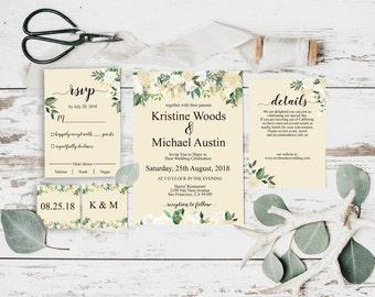 Invitation Template, Wedding Invitation Printable, Floral Wedding, Invitation Template, Wedding Invitation Printable, Invitation Set, BD6034