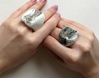 Ceramic Ring Japanese technique 'Nerikomi' bridal gift porcelain ring contemporary modern ring