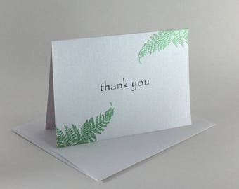 Green fern embossed thank you card, individually handmade: A1, thank you, note card, fine card, SKU TYA11003