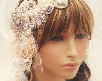 Bohemian Bridal Headband - Soft Wedding Veil / Crystal Bridal Hairpiece - Wedding Veil Hairpiece - Pearl Bridal Hairpiece - Ethereal Wedding