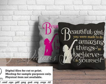 Inspirational phrase svg, young girl, beautiful girl, ai dxf emf eps pdf png psd svg svgz tif files for cricut, silhouette, brother