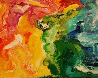 Rainbow Abstract Palette Knife Painting