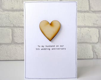 5th Anniversary Card - personalised wood anniversary card - fifth wedding anniversary wooden heart for husband wife - FREE UK DELIVERY