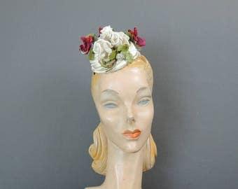 Vintage Hat White Floral Satin Topper Fascinator Hat, 1950s Bullock's Wilshire