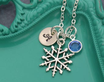 Snowflake Necklace • Snow Jewelry Winter Party Frozen Necklace • Birthday Frozen Snow Flake Charm • January Birthday Gift Snow Flake Jewelry
