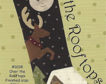 "Primitive Folk Art Wool Applique Pattern: ""OVER THE ROOFTOPS"""