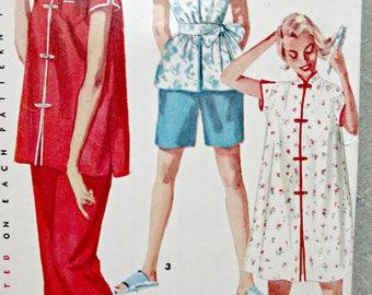 Vintage Simplicity 4971 Sewing Pattern, Misses' Pajamas, Mandarin Collar Top, Frog Closures, 1950s PJ Pattern, Bust 31, 1950s Sewing Pattern
