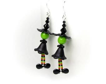 Witch Earrings Black Halloween Witches Hat Green Face Orange Striped Legs Fall Accessory Autumn Costume Party Magic Spell Witchcraft Jewelry