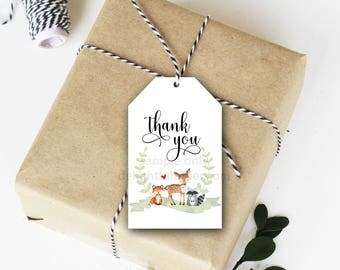 Woodland Animals Thank You Tags, Favor Tag, Birthday Thank You, Party Tag, Baby Shower Thank You, PDF, Instant Download, Printable File