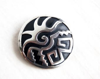 Sterling Silver Mexican Brooch Aztec Mayan Design Vintage Ancient Symbols Abstract Art Round Disc Pendant Pin