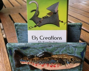 Brook Trout business card or post it note holder in stoneware with textured river background. Ek Creations Design.