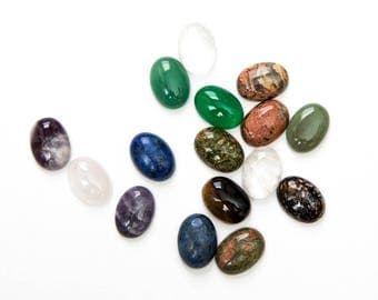 25 Cabochons 18x13mm - Gemstones - Oval Domes - Assorted - Ships IMMEDIATELY from California - C362a