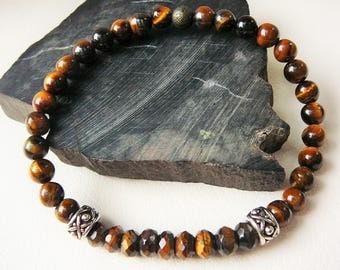 Men's Bracelet, Mens Beaded Bracelet, Mens Tigers Eye Bracelet, Tiger Eye Bracelet For Men, Slim Beaded, Gemstone Bracelet, Tribal Silver