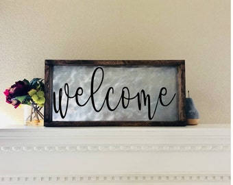 Welcome Sign, Welcome Sign For Front Porch, Welcome Wood Sign, Farmhouse Decor, Welcome Metal Sign, Entryway Sign, Housewarming Gift
