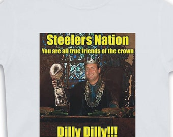 Pittsburgh Football Dilly Dilly White T-shirt Size Adult S-6XL Pittsburgh Steelers Football Bud Light Super Bowl Champions Black & Gold New!