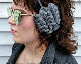 Cute Custom Earmuffs for Women // Glasses Wearers Pretty Crochet Earmuffs with Fleece