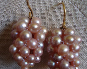 Pink Freshwater Pearl Cluster Earrings