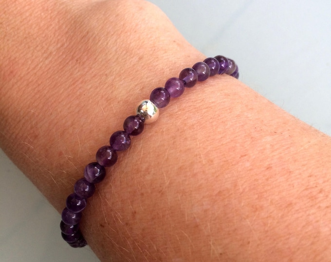 AMETHYST stretch Bracelet with Sterling Silver or 14K Gold Fill bead - February Birthstone jewellery gift - Chakra - Healing