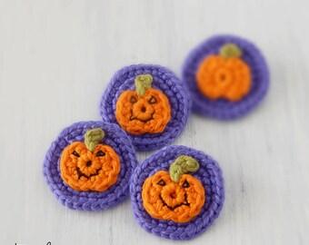 Halloween jewelry Crochet brooch with pumpkin Kids party favors Children costume Cute gifts Trick or Treat Embellishments Pins Purple Orange