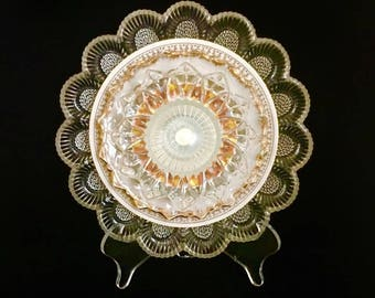 "10"" Glass Plate Flower, ""Heirloom Golden-White"" Garden Sculpture, Yard Art,  Suncatcher"