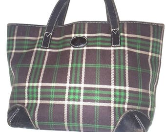 3 Days Free Ship - Bean Pole Well Made Classic Check Tote Bag - Rare