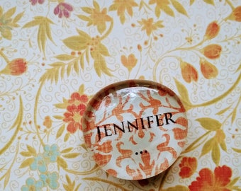 JENNIFER- Custom Magnet, Personalized Magnets; Made to Order, Cute Glass Magnets; Cabochon Magnet, Gifts under 5; Custom text; Free Shipping