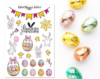 Happy Easter 2018 Planner Stickers | Easter Stickers | Bunnies Stickers | Easter Eggs | Easter Egg Hunt (S-307)