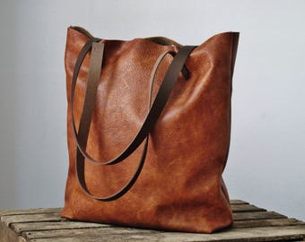 Cognac leather tote bag, leather bag, leather purse, shoulder bag, leather tote bag