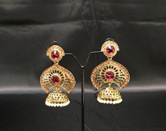 Indian Jewelry - Pakistani Jewelry - Antique Gold Hot Pink Earrings - Moti Pearl Jewelry - Indian Earrings - Indian Wedding Bridal - Jhumki