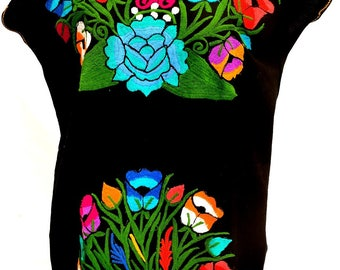 Mexican Short Dress BLACK beautifully embroidered Floral Bouquet in multi-color - Peasant One Size may fit up to XL Mexico