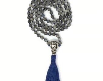 Hand knotted Labradorite Mala Necklace, 108 meditation Mala beads