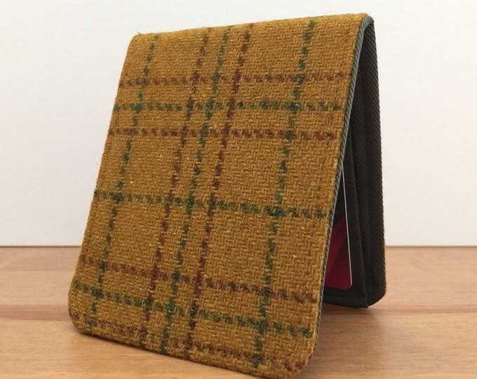 Mens Slim Bifold Wallet / Minimalist Wallet / Vintage Brown Plaid Wool