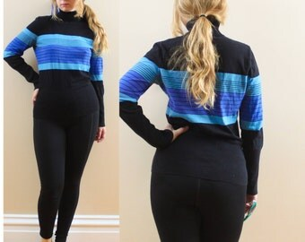 90s Jones New York Sport Turtleneck in Black and Blue Stripes size Medium or Large . Ombre sky navy aqua 1990s fashion style