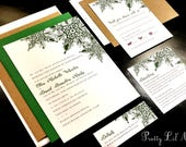 Snowflake Flourish Custom Unique Wedding Invitation Elegant Formal Lace Holiday Party Christmas Winter Liner Snow Green Purple Gray Gold Red