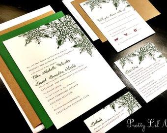 Snowflake Flourish Custom Unique Wedding Invitation Elegant Formal Lace Holiday Party Christmas Winter Liner Snow Green Purple Gray Gold Red