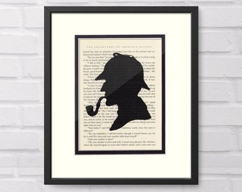Sherlock Holmes Silhouette Vintage Book Page Art Print  Sherlock Holmes Gift, Sherlock Holmes Art, Literary Art, Literary Gift, Book Lovers
