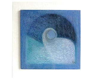 Serene blue original painting, small wood art, tranquil wall decor, harmony