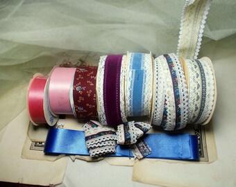 Destash Vintage Craft Ribbon Remnants - Mixed Colors, Sizes | 8 Types | Pink, Blue, Floral Print, Lace Edged | 1980s era Craft Ribbon Lot