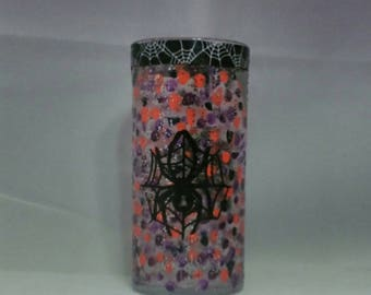 "Spider vase, hand painted, can also be used as a pillar candle holder for a 2"" pillar candle, 7"""