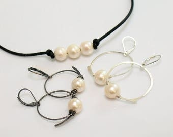 Sterling Silver Hoop Dangles with Large Freshwater Pearls, Hand Forged Original Flourish Hoop Earrings, Perfect with Leather & Pearl Choker