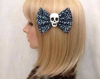 Leopard print skull hair bow clip rockabilly psychobilly gothic Lolita rock punk pin up girl blue creepy skeleton sugar horror fabric ladies