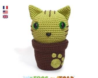 Minty Kitty Cactus - Chat Fleur - Amigurumi Crochet Patron - PDF Tuto Français
