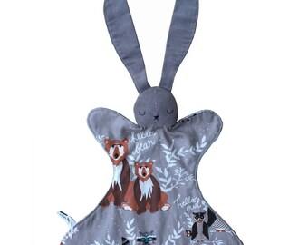 Baby Bunny Lovey Rattle Blanket Toy - Sleepy Grey Rabbit - Plush Grey Minky and Corduroy - Boy or Girl Baby Gift