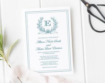 Monogram Wedding Invitation Template, Printable Wedding Invitation Set, Elegant Wedding Invitations, Wedding Invitation Suite, Crest