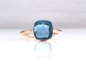 Classic blue topaz ring small - Square topaz ring - December birthstone - Stackable rings - Small layering ring - Dark topaz ring