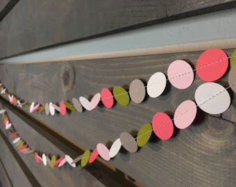 Baby Girl Garland || Circle Garland || Nursery Decoration || Baby Shower Decoration || Its a Girl || Pink Green || Confetti Garland