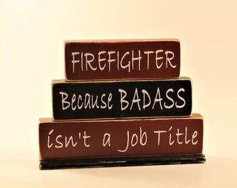 Firefighter, Stacked Block Set, Fireman, Firewoman, First Responder, Job Title