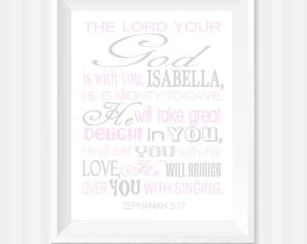 The Lord Your God Bible Verse Wall Art, Zephaniah 3:17 Wall Art, Scripture Art, Baby Girl Nursery, Personalized Gift, Religious Art, Gray