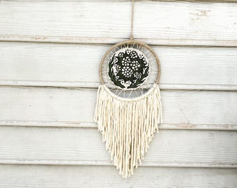 Retro dreamcatcher handpainted tapestry boho wall art